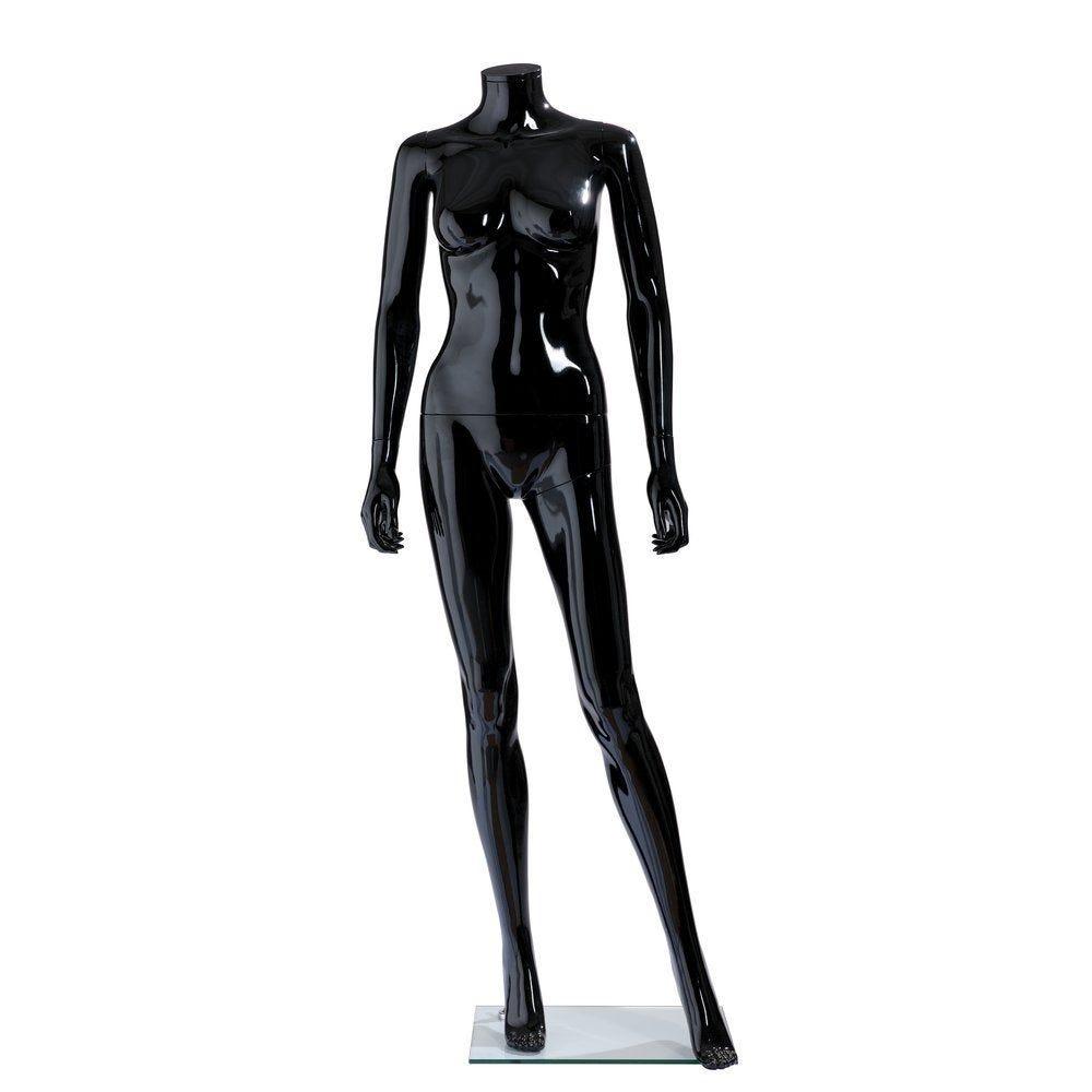 Mannequin femme modulable noir brillant sans tête jambe avant 177cm (photo)