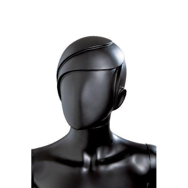 Tête femme 'mèche' en PVC modulable noir mat style Mèche (photo)
