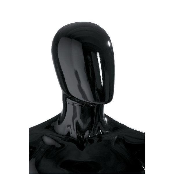Tête homme 'Oeuf' modulable noir brillant style Design (photo)
