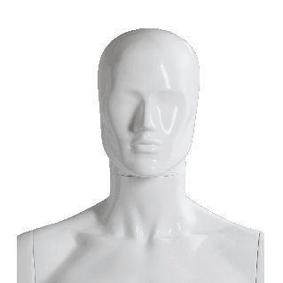 Tête homme abstraite PVC modulable blanc brillant (photo)