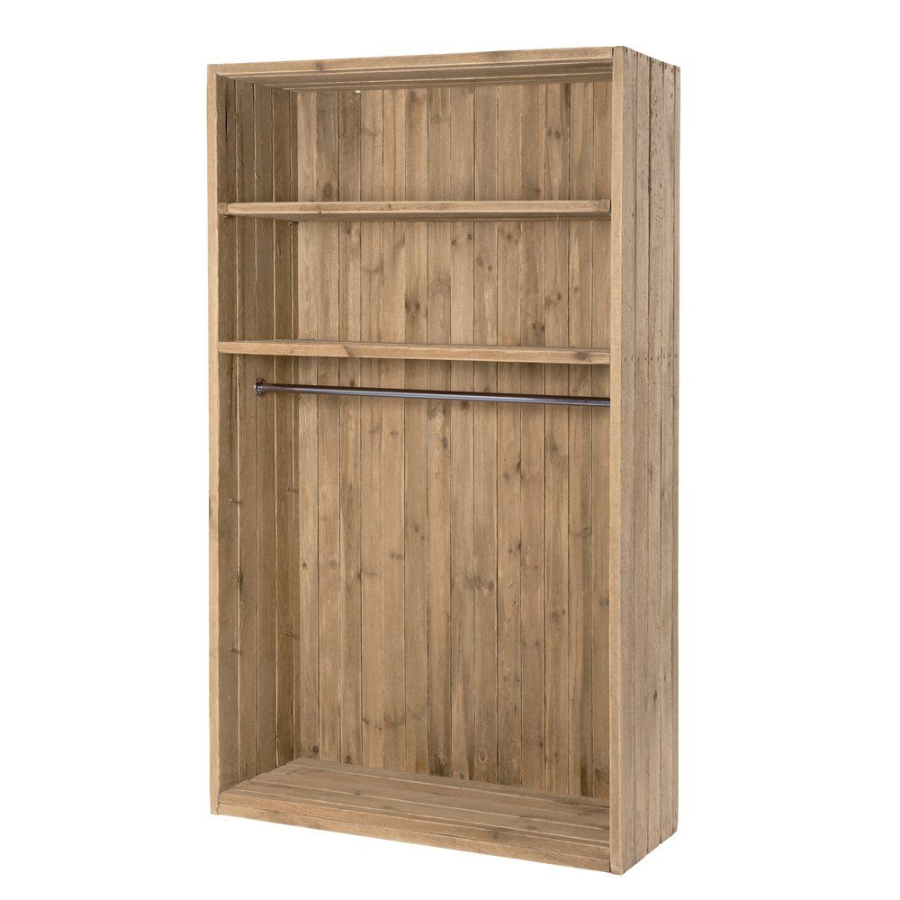 Armoire Westside pin vieilli massif 2 tablettes 1 penderie L120 x P45 x H200 cm (photo)