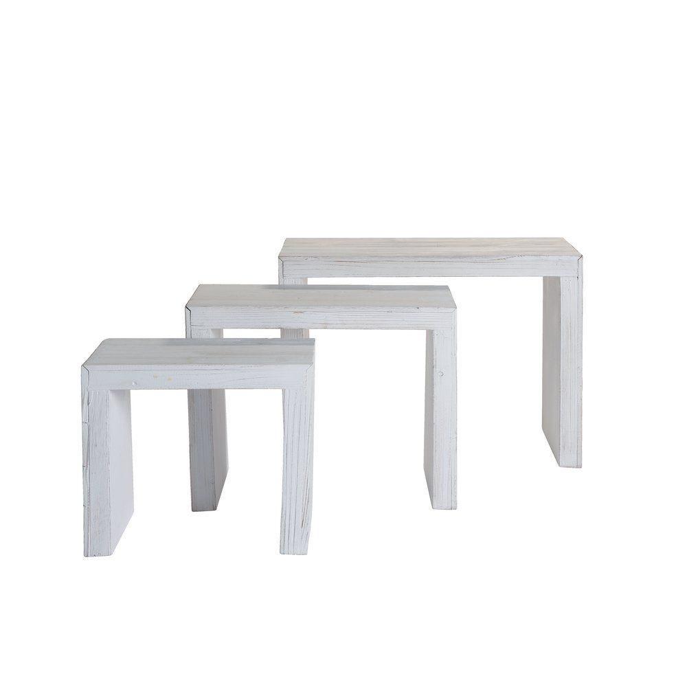 Table bois blanchi 32x20x28+42x23x33+52x26x38cm - set de 3