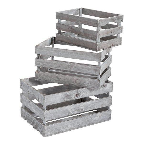 Caisses en bois brut gris 45x30x23 - 39x26x20 -32.5x22x17.5cm set de 3 (photo)