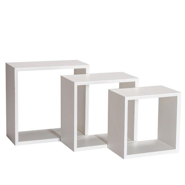 Set 3 cubes blanc laqué fond amovible en option 31x20+35x20+40x20cm - par 3 (photo)