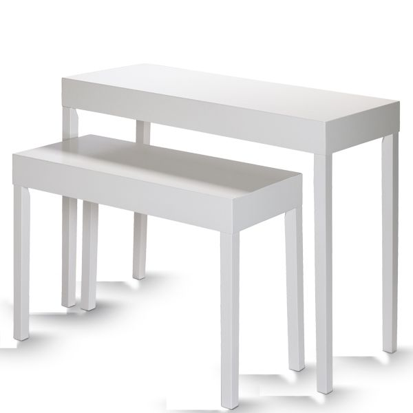 Table de présentation blanc mat L100 x P40 x H79.5cm - L80 x P35 x H60cm - Par 2 (photo)