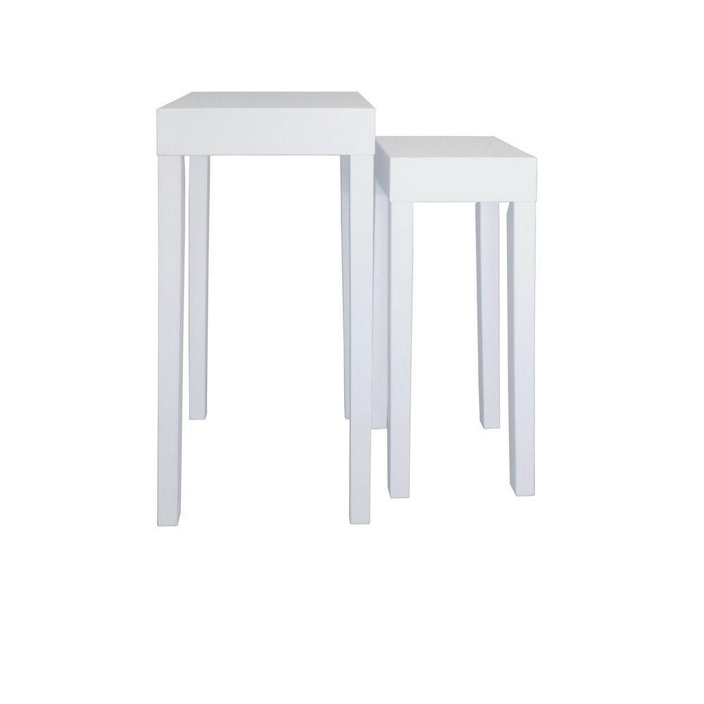 Console bois blanc mat 35x35x90cm + 25x35x78cm set de 2 (photo)