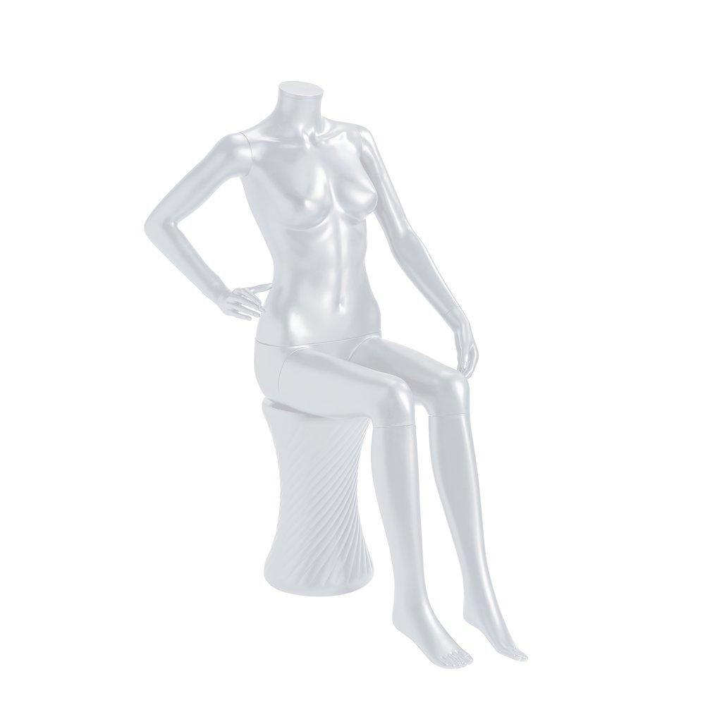 Mannequin femme modulable blanc mat sans tête assise avec tabouret (photo)