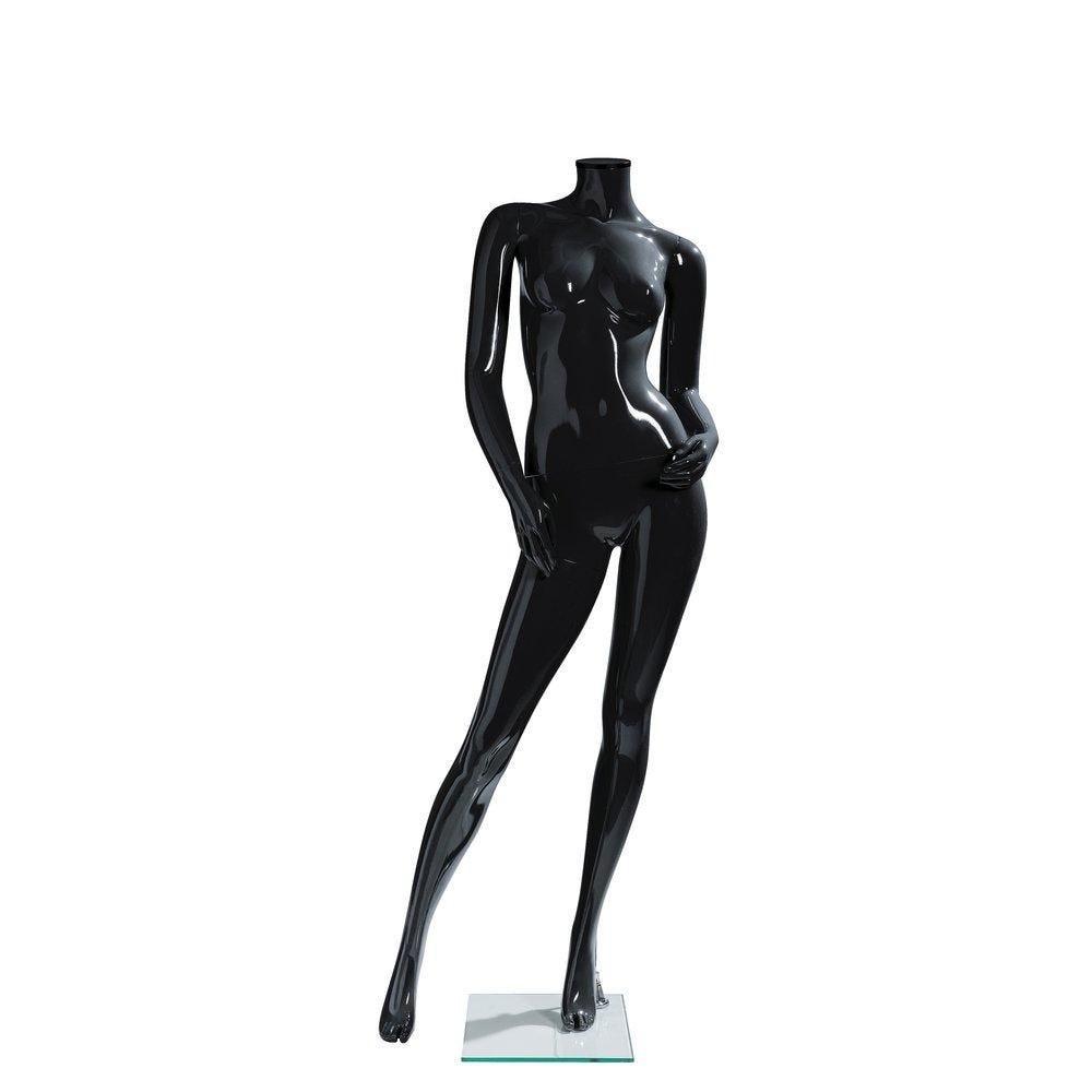 Mannequin femme modulable noir laqué sans tête déhanché (photo)