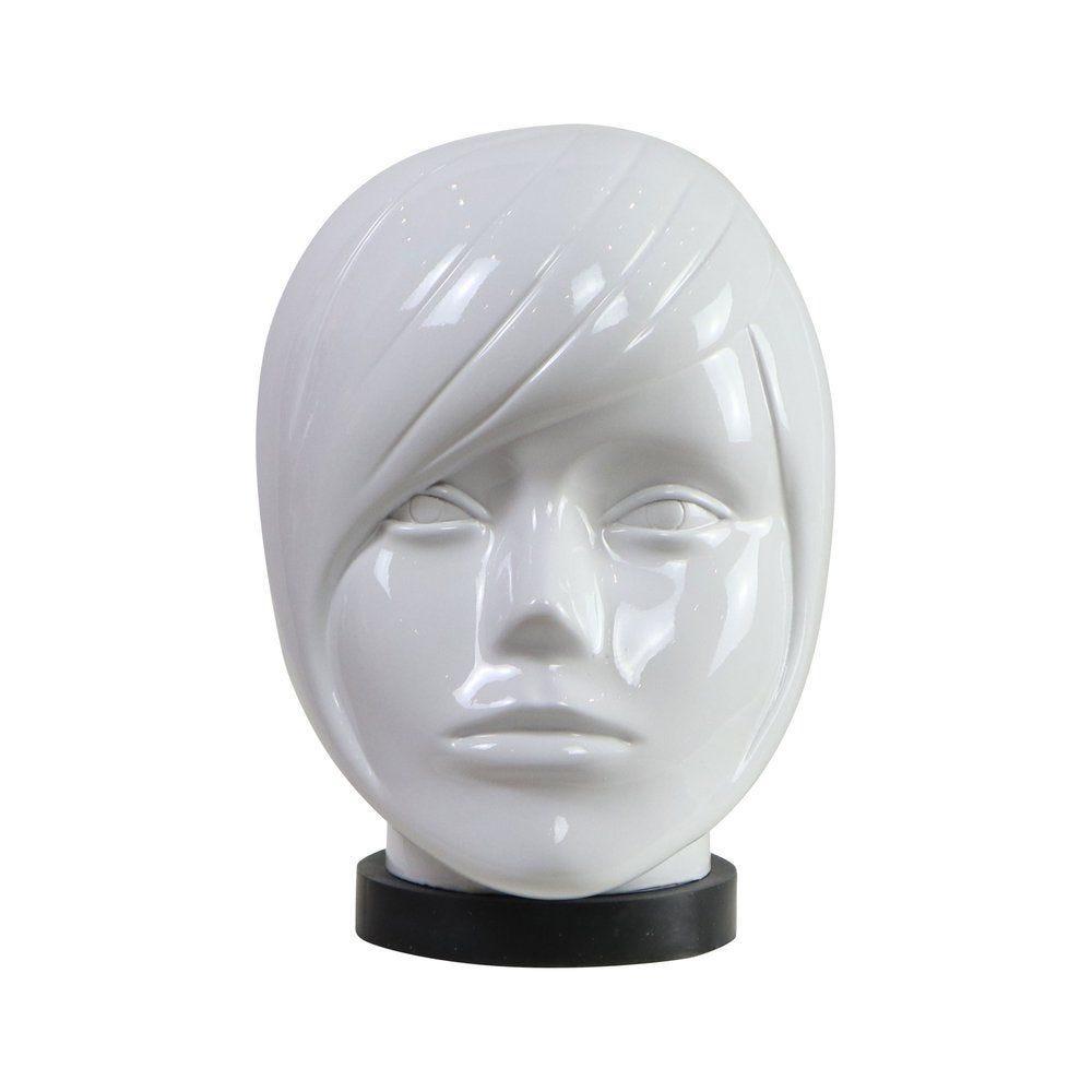 Tête mannequin femme modulable blanc laqué sculptée et Mèche