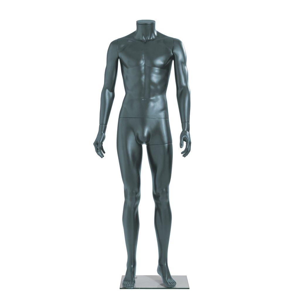 Mannequin homme modulable anthracite mat sans tête jambes droites (photo)
