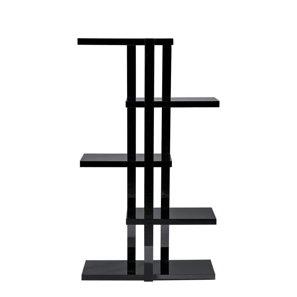 Etagère 5 niveaux noir laqué L90 x P30 x H160 cm (photo)