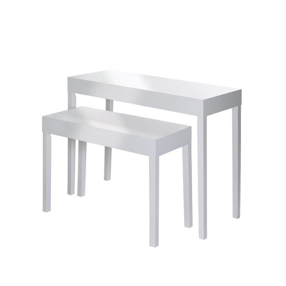 Table de présentation blanc laqué L100 x P40 x H79.5cm - L80 x P35 x H60cm x2 (photo)