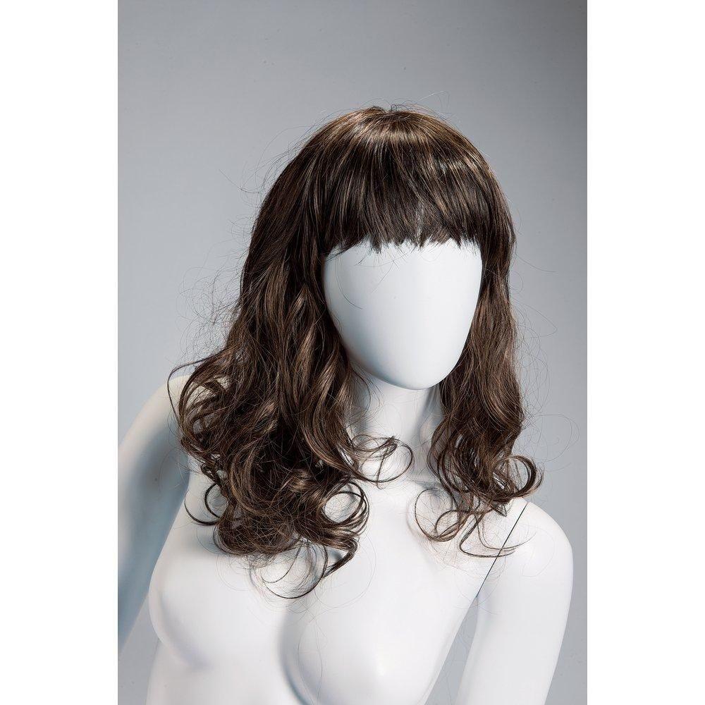 Perruque femme cheveux longs ondulés châtains