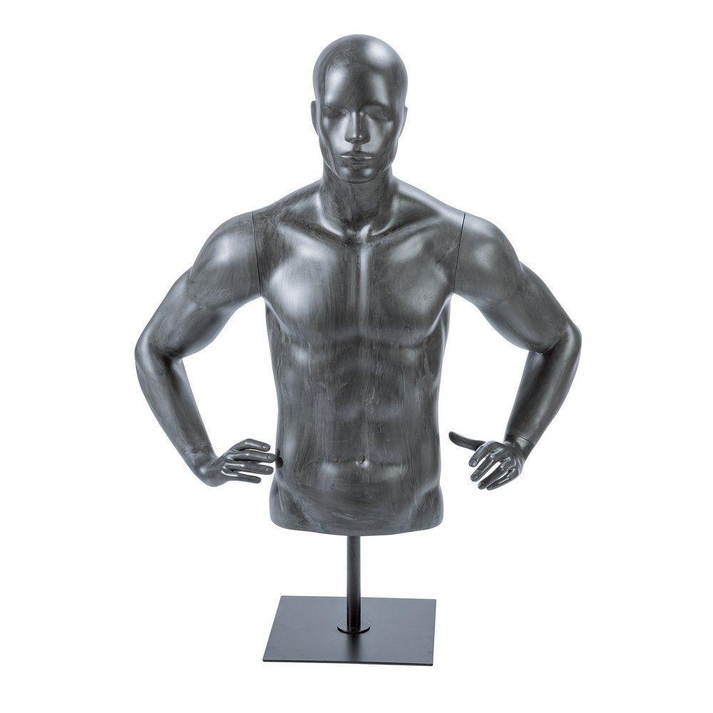Buste homme sur socle + bras ''URBAN'' gris délavé (photo)