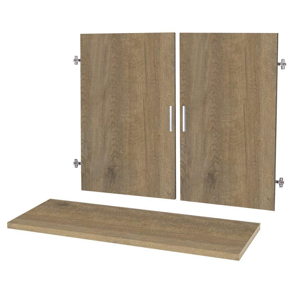 Portes + étagères chêne authentique L.93x120x2cm par 2 (photo)