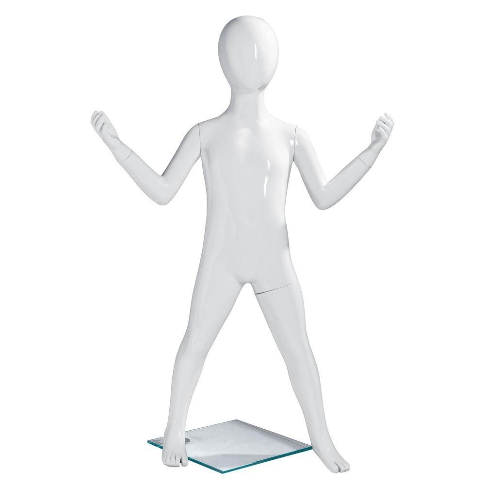 Mannequin enfant 4 ans H108cm blanc laqué Shopexpert fibre de verre (photo)
