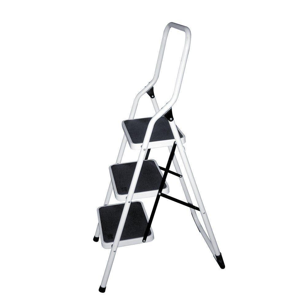 Marchepied 3 marches acier epoxy blanc 46 x 66.5 x 121.5 cm (photo)