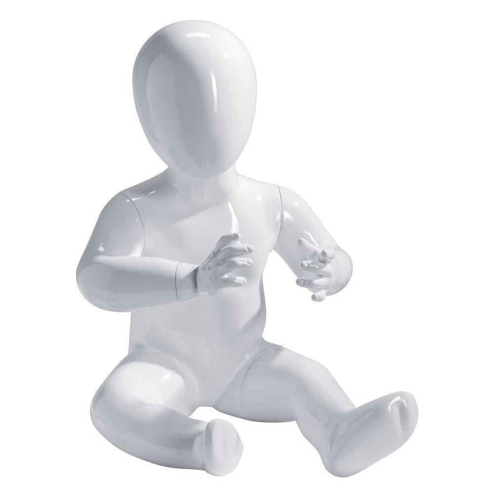 Mannequin bébé position assise blanc laqué fibre de verre 6 mois-1 an (photo)