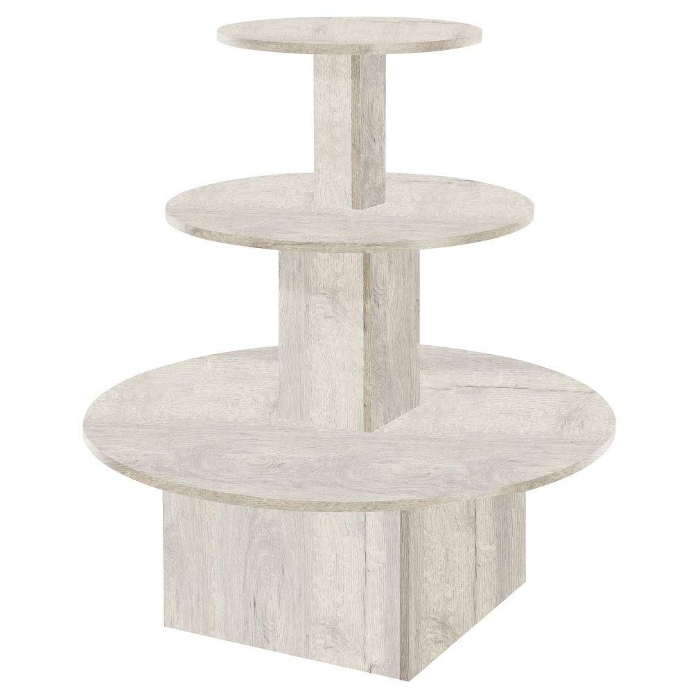 Présentoir 3 niveaux Flexia chêne blanchi L.102 x P.102 x H.117cm (photo)