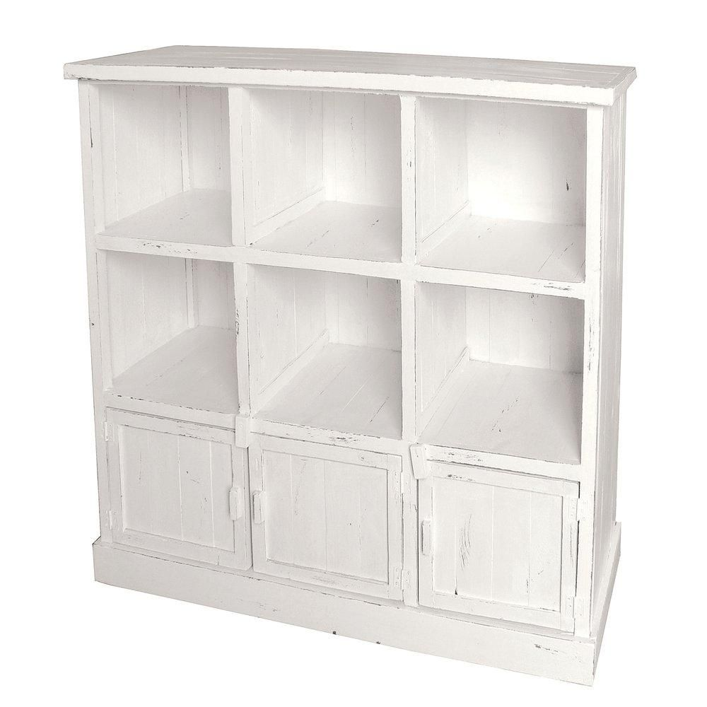 Buffet bas Héritage blanc patiné 6 cases 3 portes L119 x P39 x H110cm (photo)