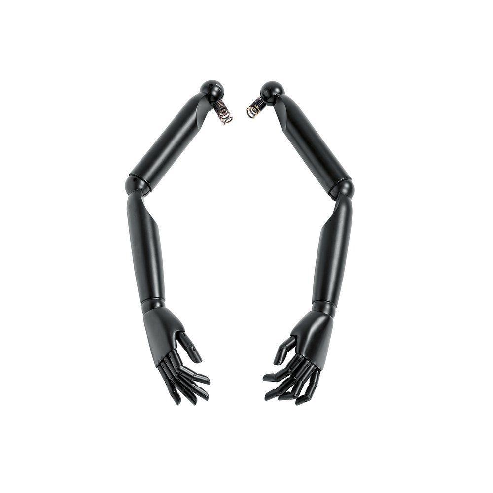 Bras articulés femme bois noir pour mannequin et buste vintage - la paire (photo)