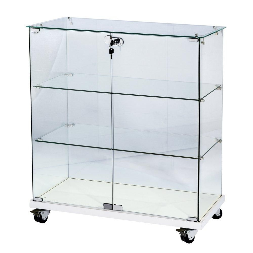 Vitrine 80x40x90cm verre trempé 2 tablettes, top verre, socle blanc, serrure (photo)