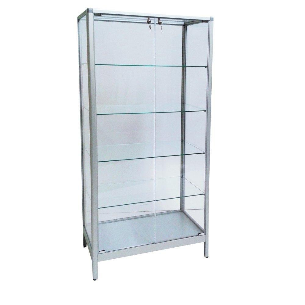 Vitrine cadre aluminium 80x40x180cm, tablettes réglables + serrure