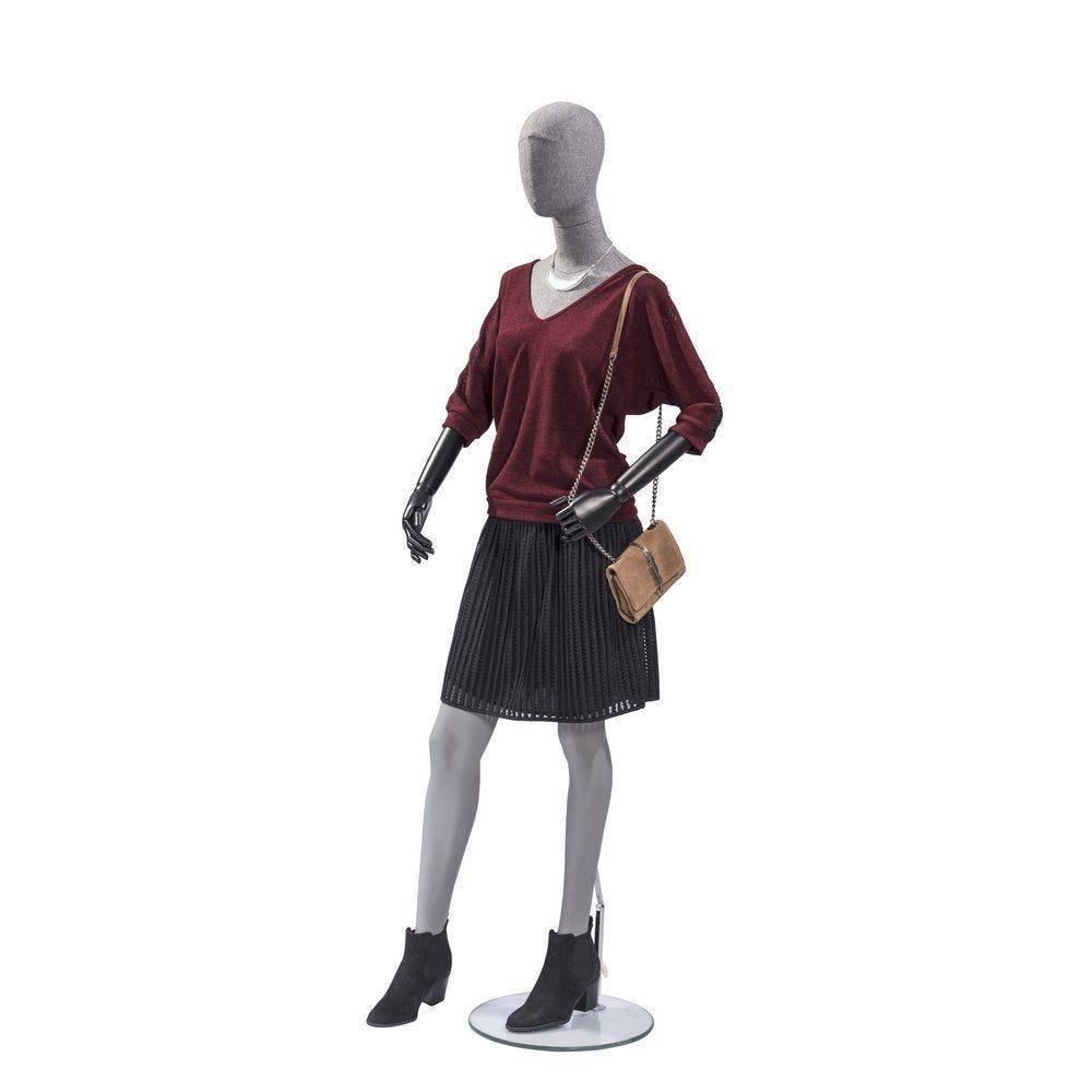 Mannequin femme Vintage tête et buste lin gris jambes coloris gris (photo)