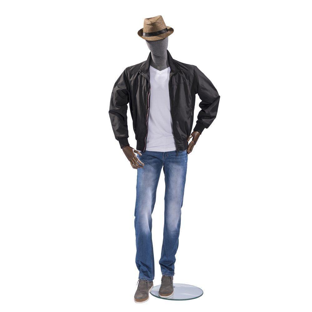 Mannequin homme Vintage tête et buste lin gris jambes coloris gris (photo)