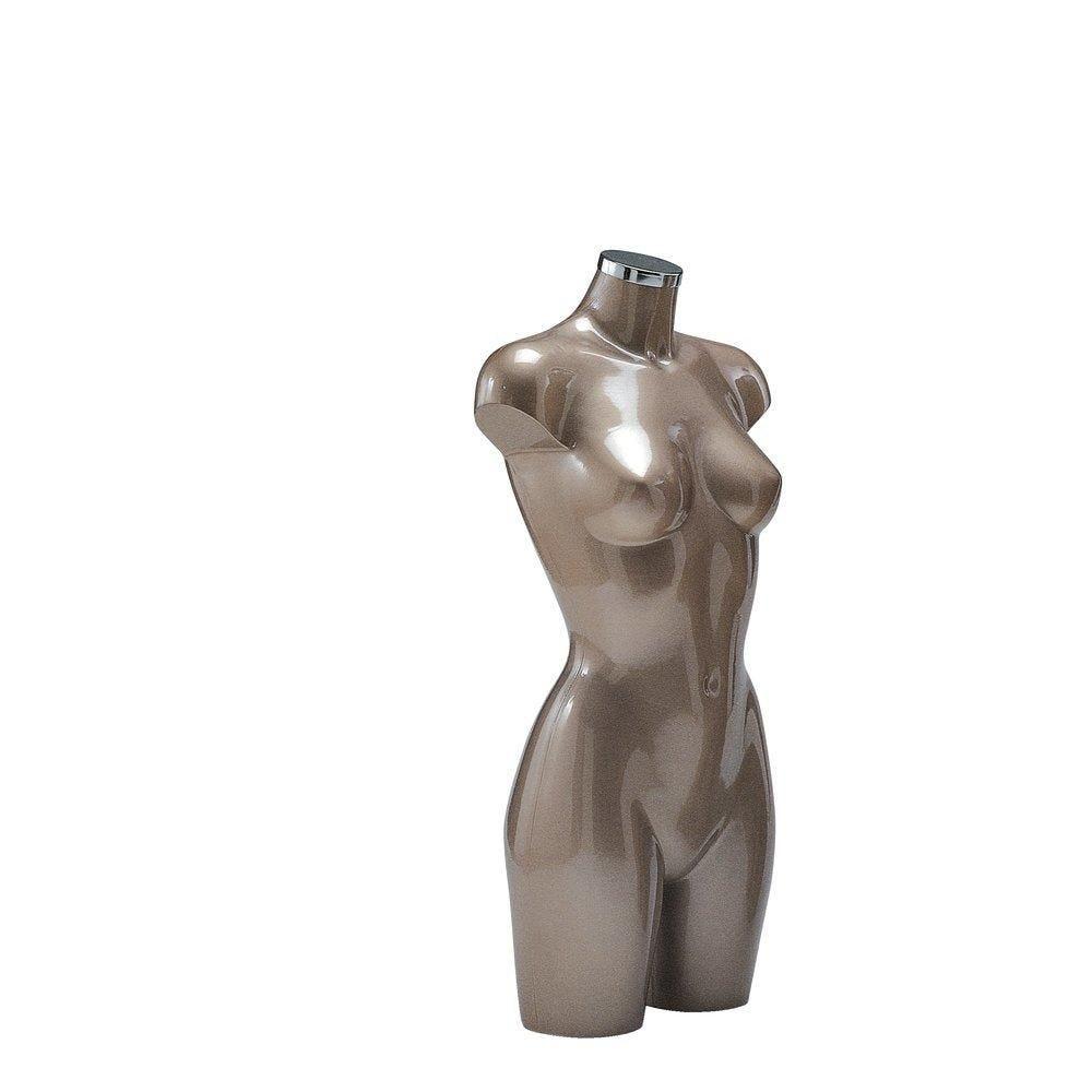Buste Torso femme laqué marron clair (photo)