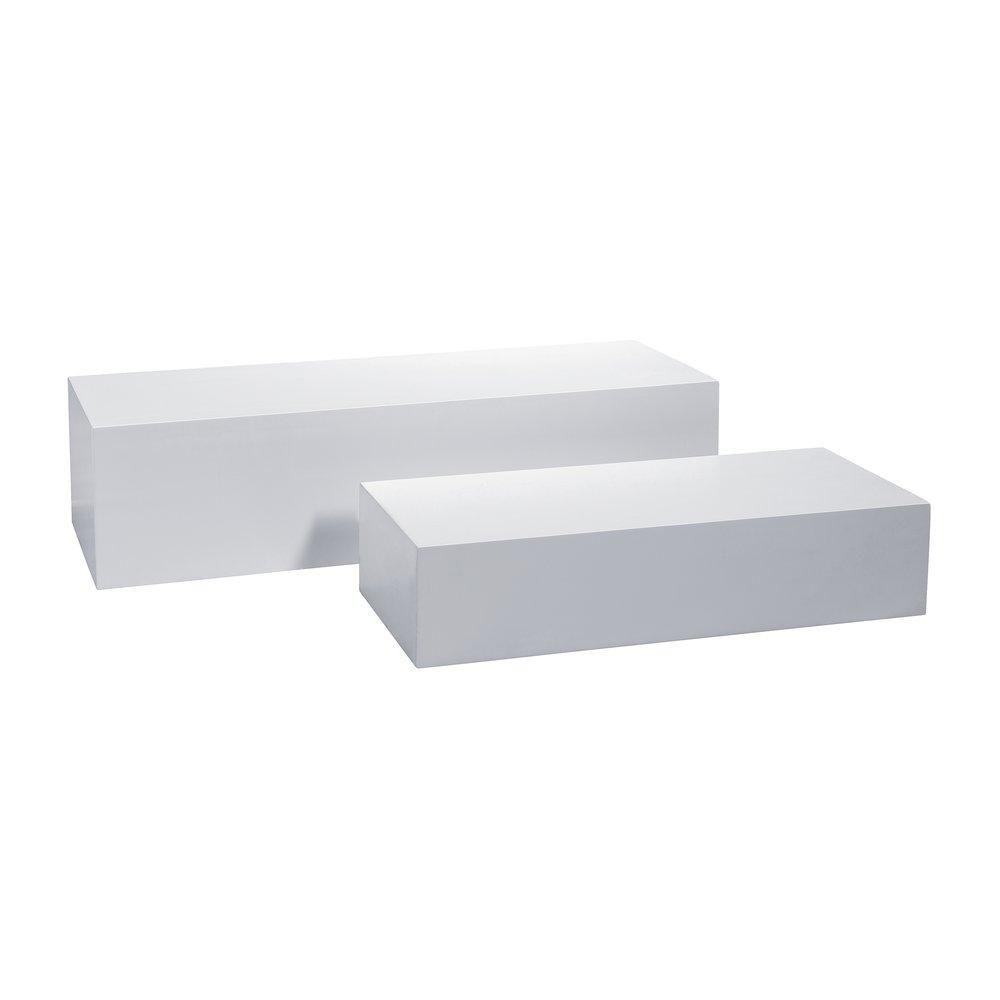 Podium mat blanc 100x45x30cm + 75x40x20cm set de 2 (photo)