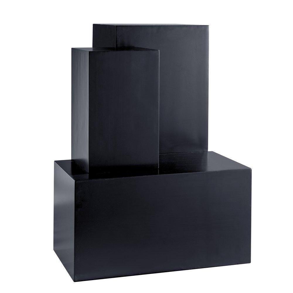 Podium colonne noir 45x45x100cm + 40x40x75cm +30x30x50cm set de 3 (photo)
