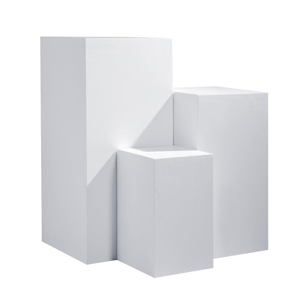 Podium colonne blanc 45x45x100 cm + 40x40x75 cm + 30x30x50 cm set de 3 (photo)