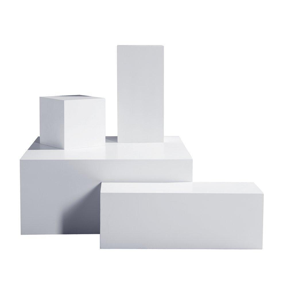 Podium blanc mat 94x94x40cm + 90x30x30cm + 60x30x30cm + 30x30x30cm set de 4 (photo)