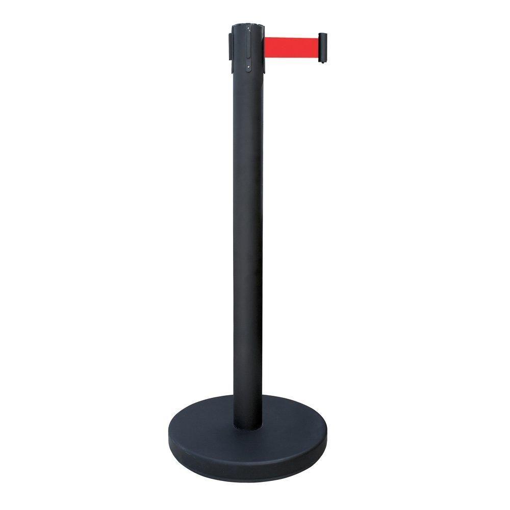 Poteau de guidage noir avec 2 mètres de sangle rouge (photo)