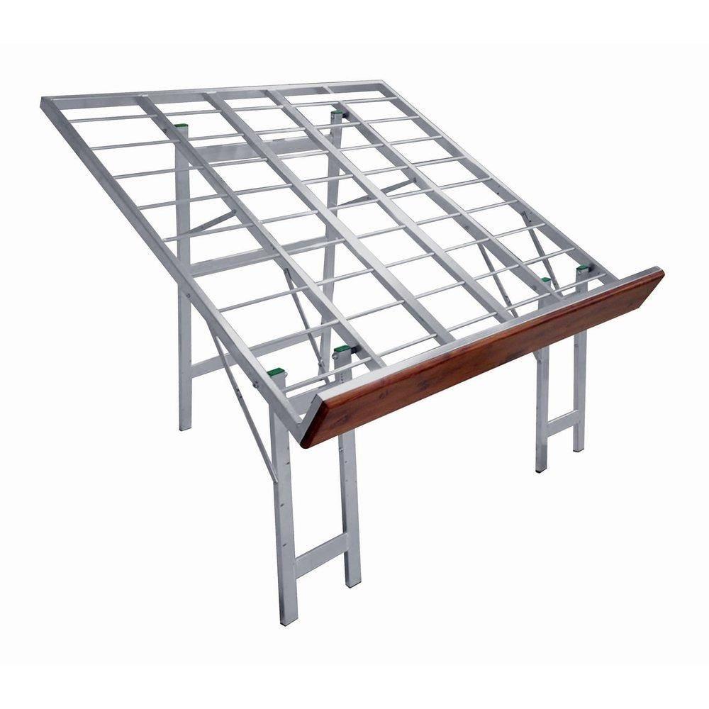 Table alu inclinée front bois 120x120x97cm (photo)