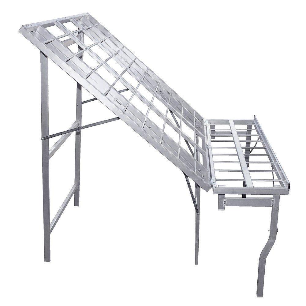 Table aluminium inclinée 150x120cm + plateau 150x30cm (photo)