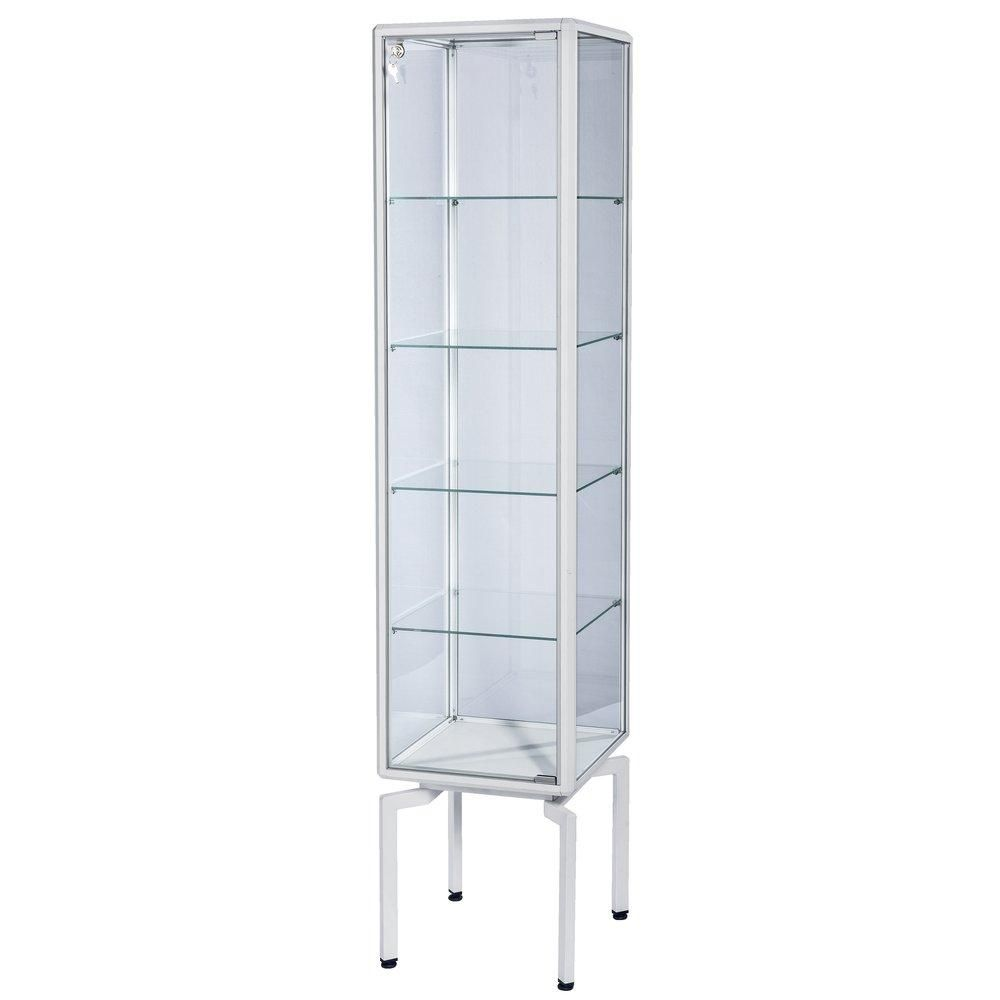 Vitrine cadre alu blanc 40x40x180cm, tablettes réglables + serrure
