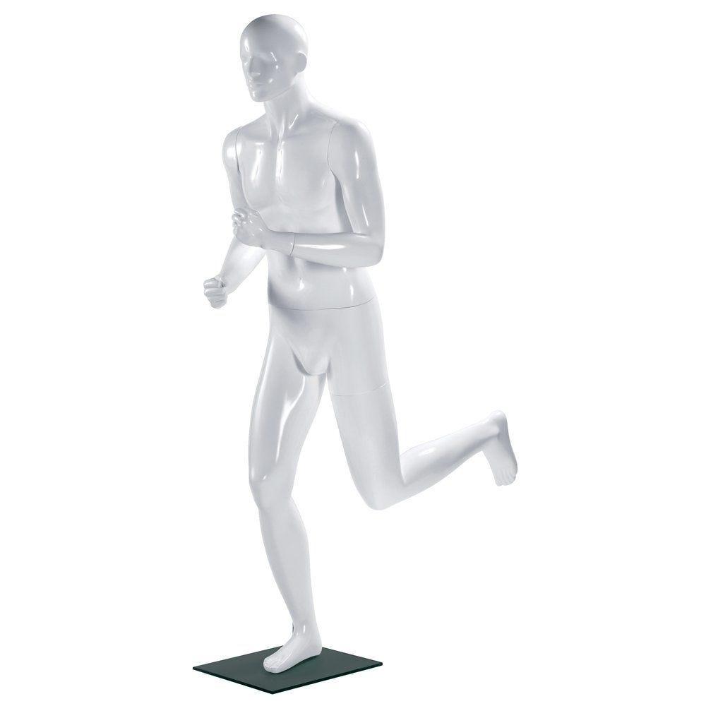 Mannequin homme sport Running blanc laqué tête stylisée (photo)