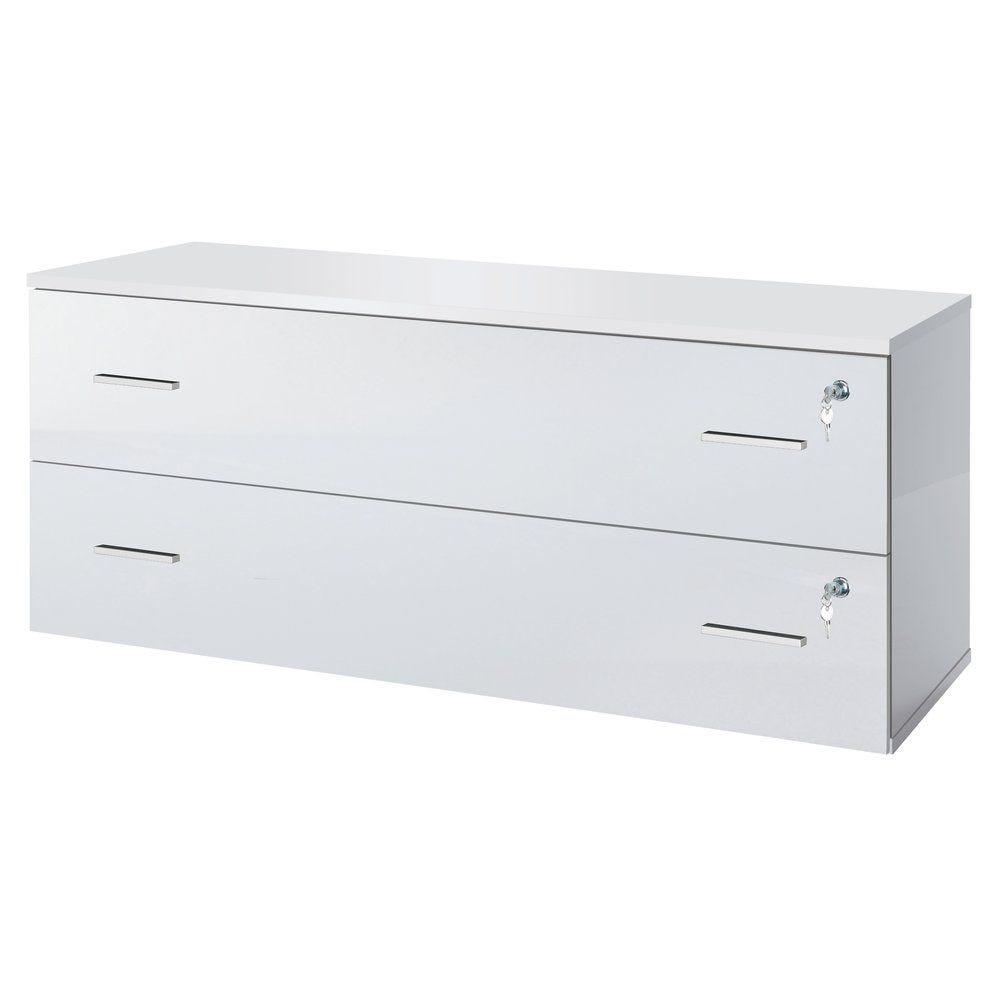 Meuble 2 tiroirs + serrures blanc laqué 120x42x51cm