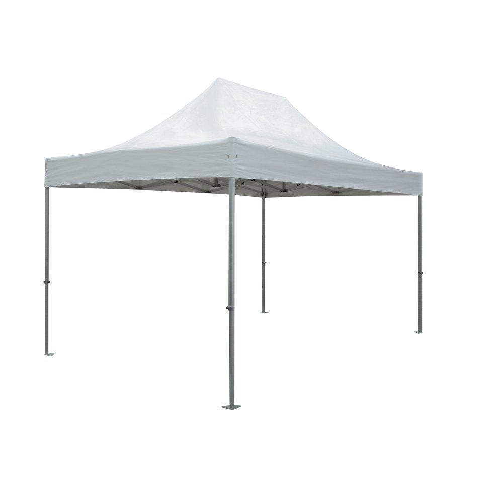 Tente 3 x 4.5m structure alu toit polyester blanc (photo)