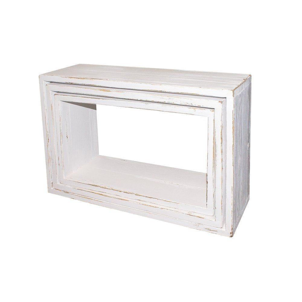Cubes Héritage blanc 29X50+34X55+39X60 P.19cm set de 3 (photo)