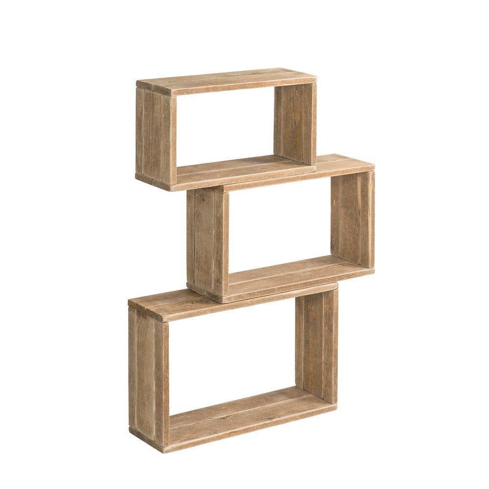Cubes Westside bois brut 29x19x50+ 34x19x55 + 39x19x60 cm set de 3 (photo)