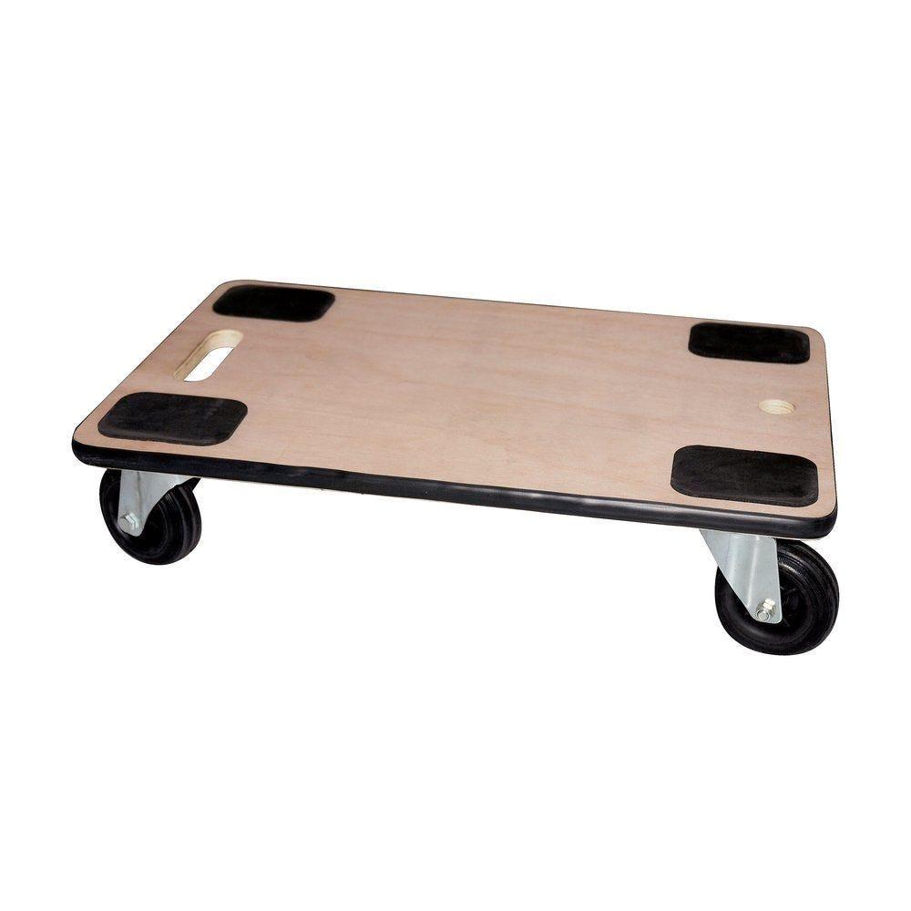 Plateau roulant en bois 4 roues caoutchouc L60 x P40cm (photo)