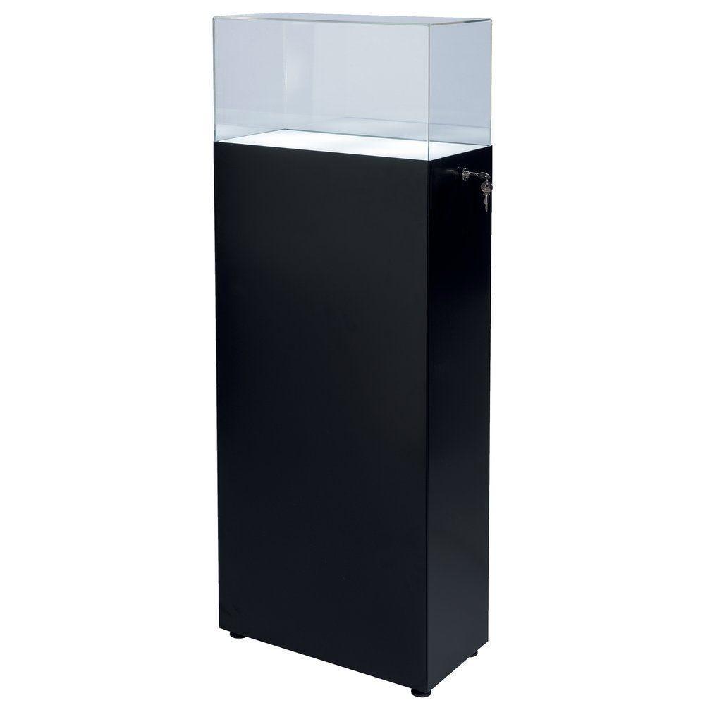 Vitrine led 50x25x130cm, base noir, cloche acrylique transparent H 30cm