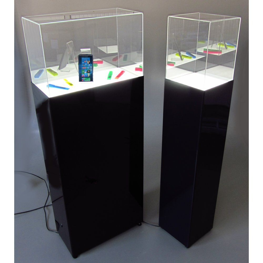 Vitrine led 50x25x130cm, base noir, cloche acrylique transparent H 30cm (photo)