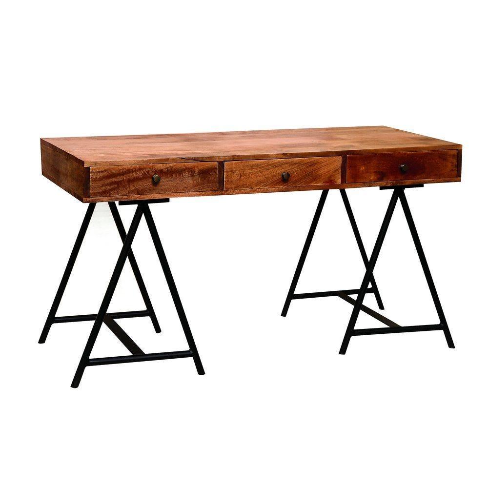 Table vintage bois 3 tiroirs pieds tréteaux en métal noir L140 x P60 x H77cm (photo)