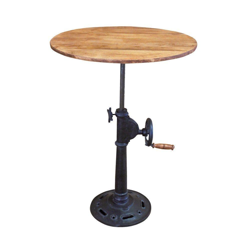 Table manivelle 'Chicago' Ø 70cm bois/pied métal hauteur réglable (photo)