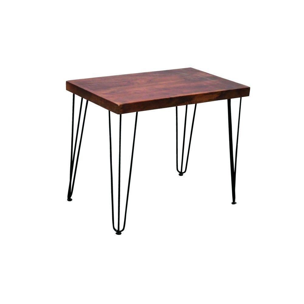 Table vintage bois pied métal triangle L80 x P50 x H65cm (photo)
