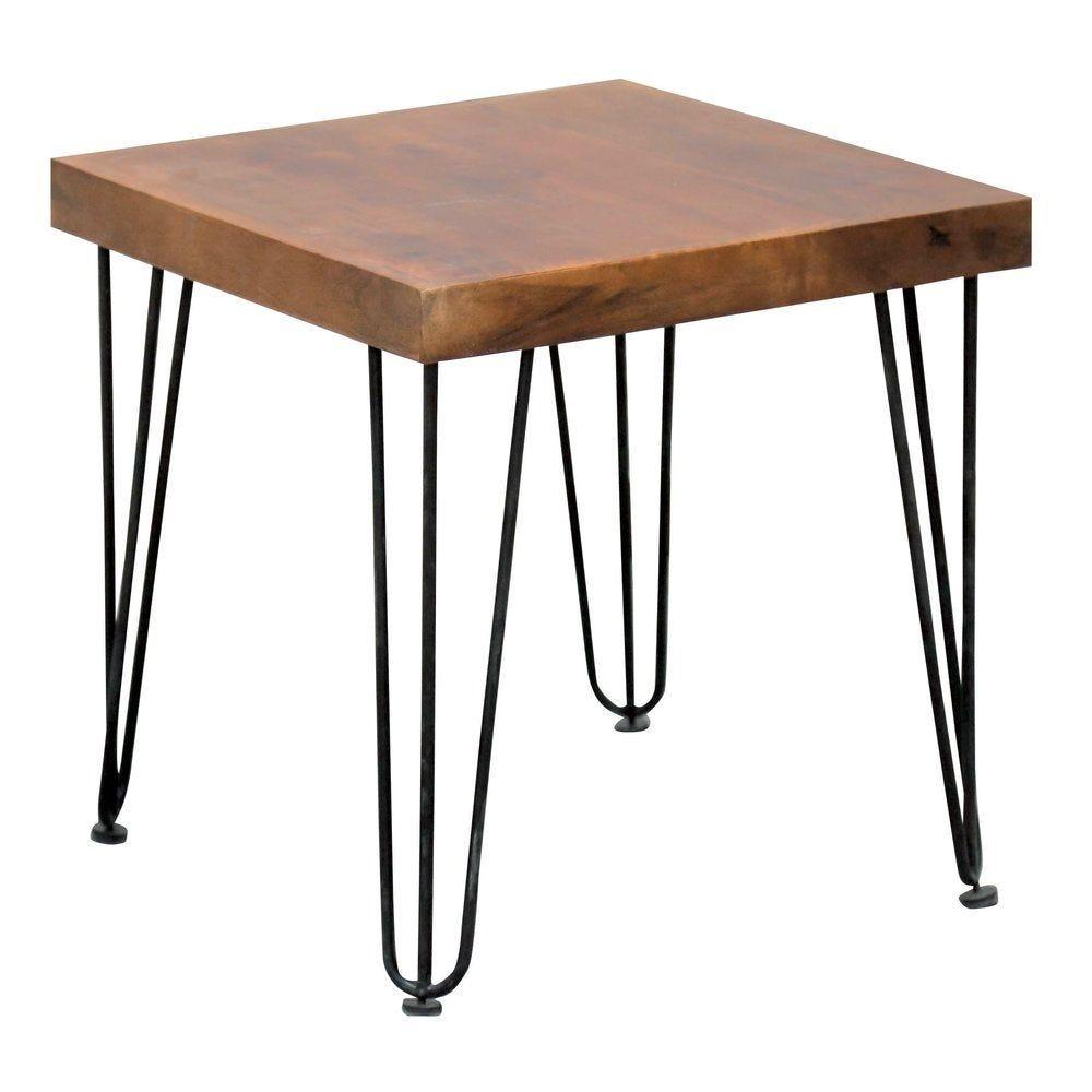 Table vintage bois pied métal triangle L50 x P50 x H50cm (photo)